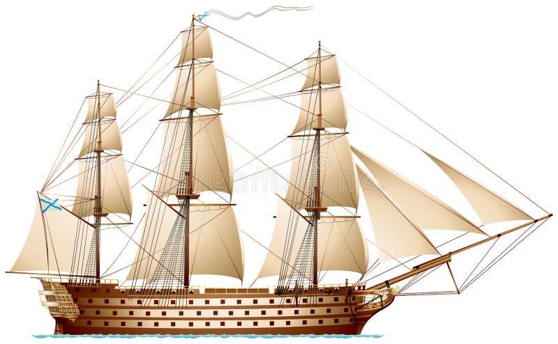 Statek linia, wojna pancernik ilustracja wektor