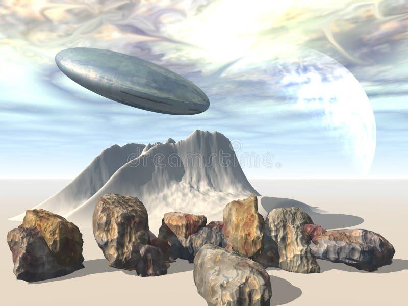 statek obcych przestrzeni świat ilustracji