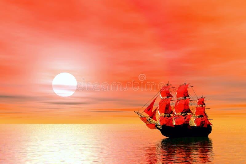 statek pożeglować słońca