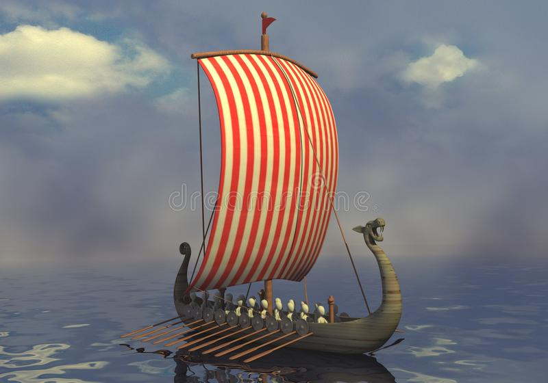 statek Viking ilustracja wektor