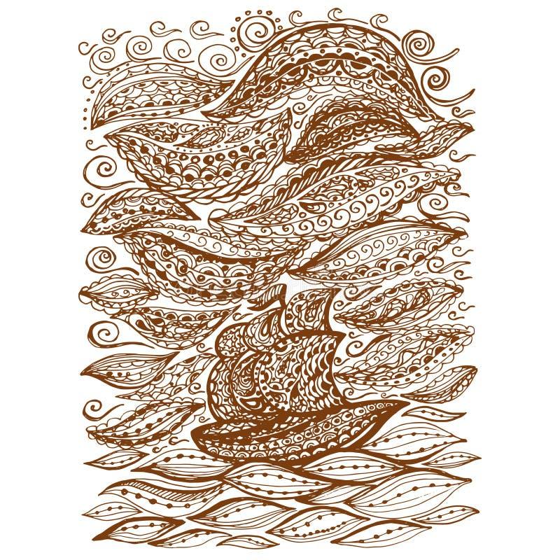 Statek w burzy i morzu royalty ilustracja