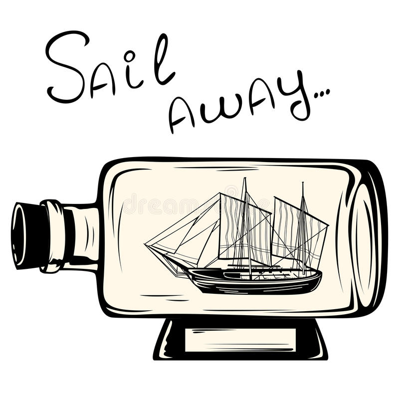 Statek w butelce ilustracji