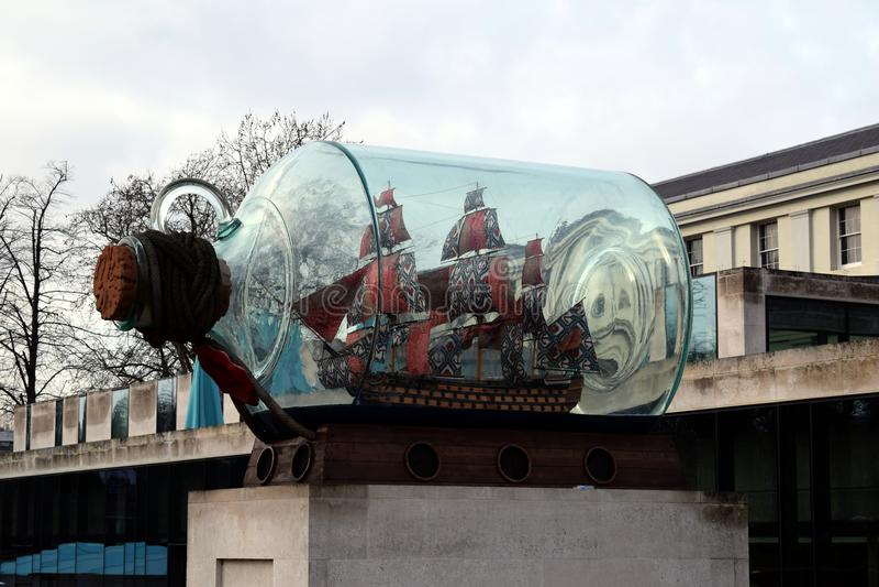 Statek w butelce w Greenwich parku zdjęcie stock