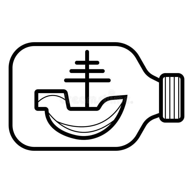 Statek w butelki ikonie ilustracja wektor