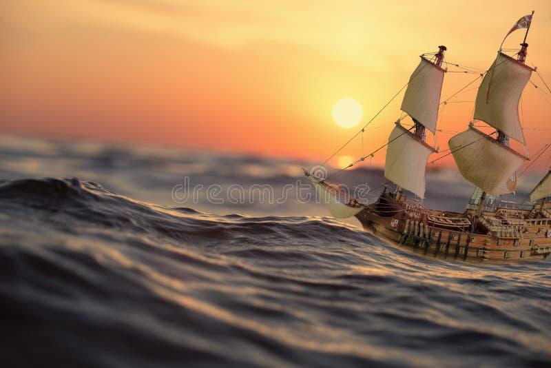 Statek w fala woda przy wschodem słońca ilustracji