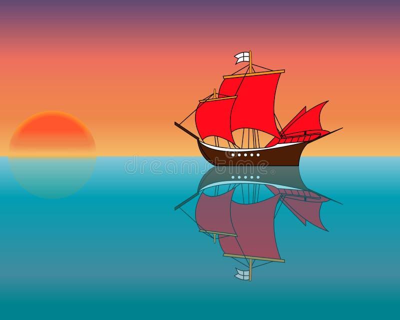 Statek w oceanie przy zmierzchem ilustracja wektor