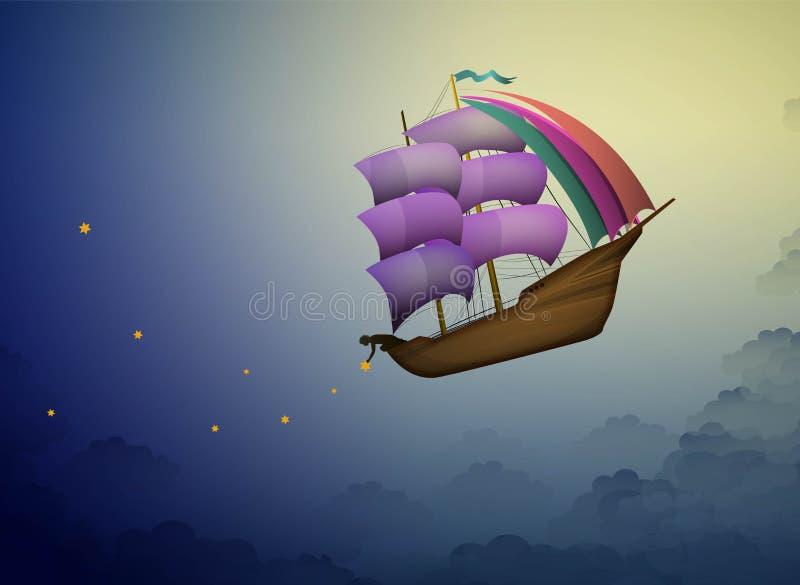Statek w wieczór niebie w chmurach, czarodziejski chłopiec kładzenie gra główna rolę na nocnym niebie, czarodziejski dreamland że ilustracji