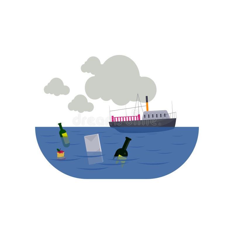 Statek w zanieczyszczającym morzu z śmieci odizolowywającym na białym tle ilustracji