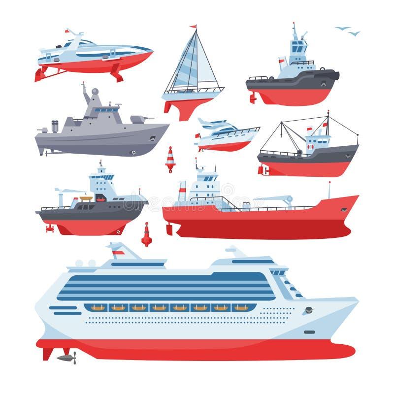 Statek wektorowe łodzie lub rejsu podróżowanie w transportu ilustracyjny morskim ustawiającym nautyczny oceanu, morza lub wysyłki ilustracja wektor