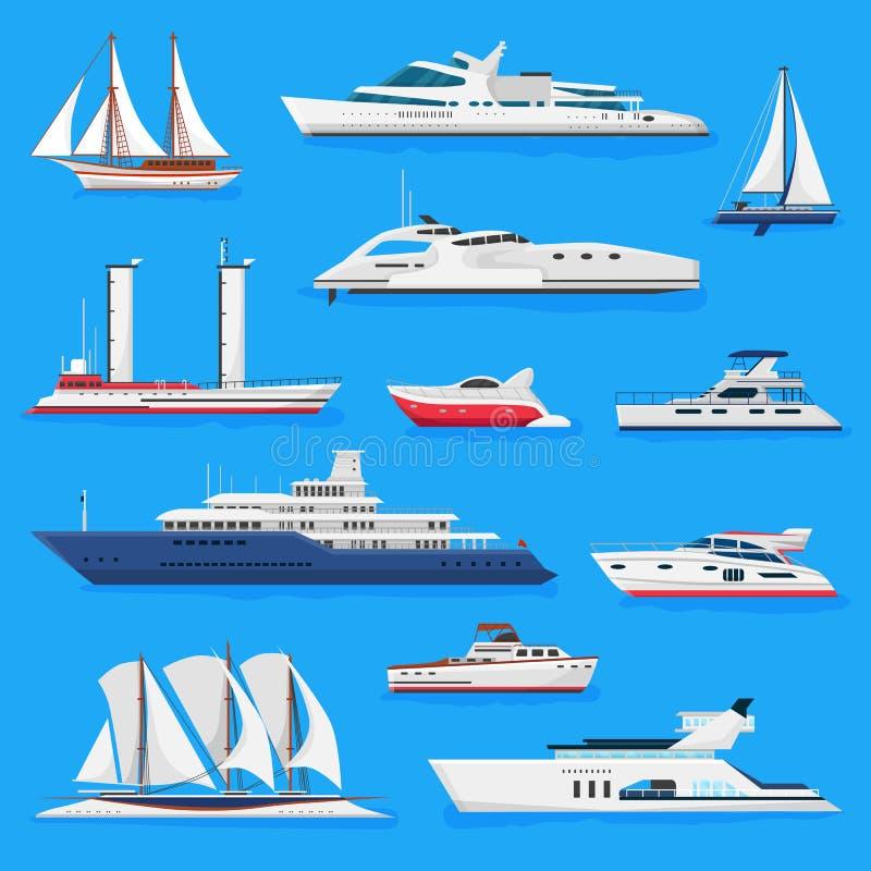 Statek wektorowe łodzie lub rejsu podróżowanie w transportu ilustracyjny morskim ustawiającym nautyczny oceanu, morza lub wysyłki ilustracji