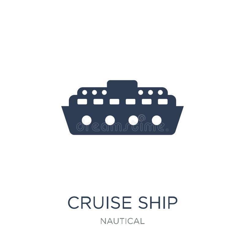 Statek wycieczkowy ikona Modna płaska wektorowa statek wycieczkowy ikona na biały b ilustracji