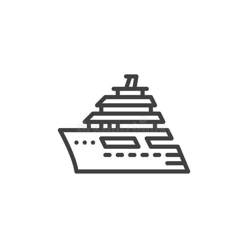 Statek wycieczkowy kreskowa ikona ilustracja wektor