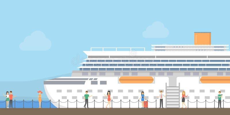 Statek wycieczkowy przy portem ilustracja wektor