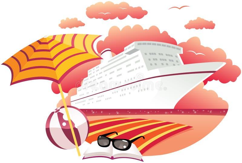 Statek wycieczkowy przy zmierzchem royalty ilustracja