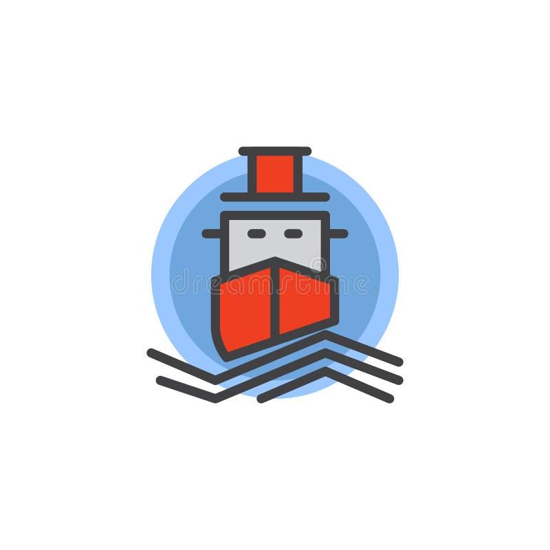Statek wycieczkowy wypełniająca kontur ikona ilustracji