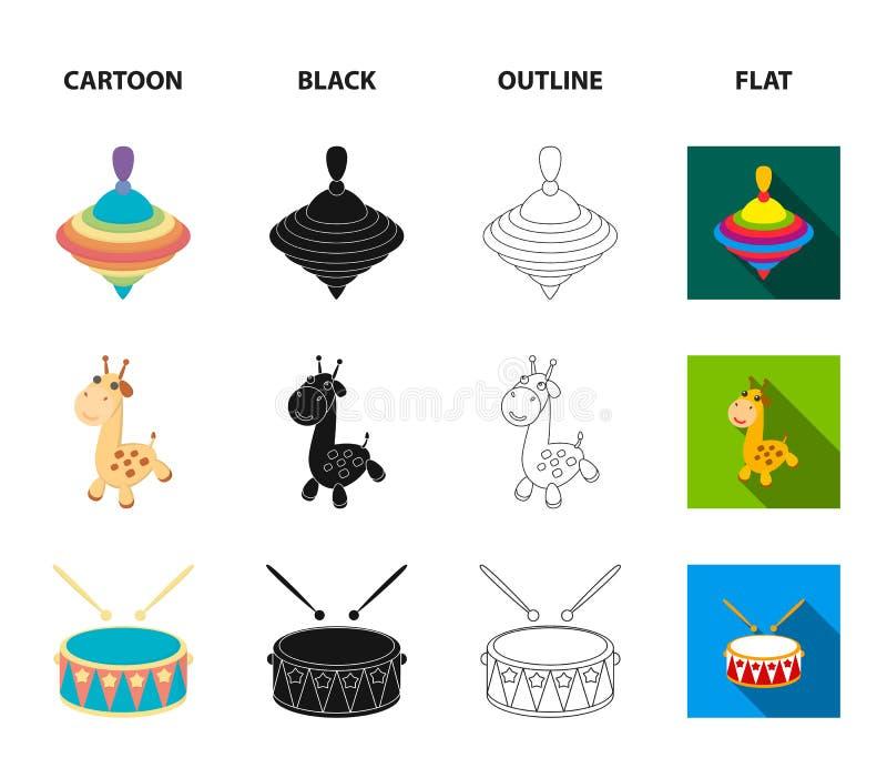 Statek, yule, żyrafa, bęben Zabawki ustawiać inkasowe ikony w kreskówce, czerń, kontur, mieszkanie symbolu zapasu stylowa wektoro ilustracji