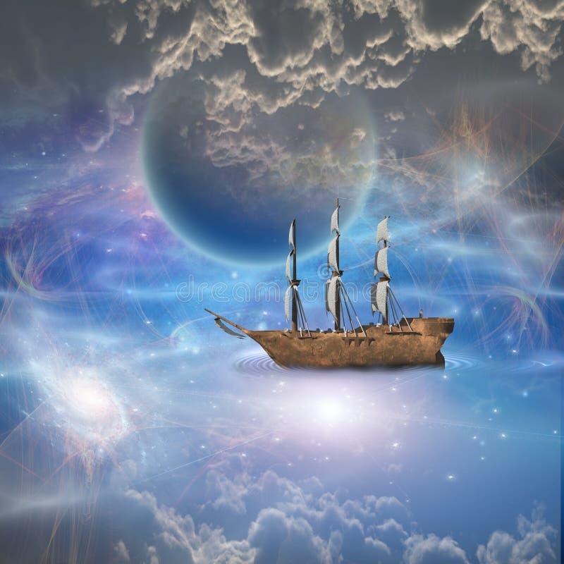 Statek z pełnymi żaglami w fantastycznej scenie ilustracja wektor