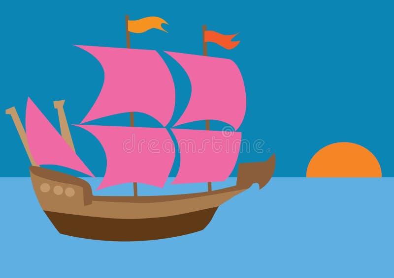 Statek z szkarłatnymi żaglami royalty ilustracja