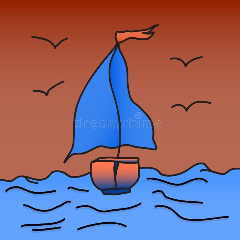 Statek z szkarłatnymi żaglami jest spławowy na fala również zwrócić corel ilustracji wektora TARGET688_1_ ręką royalty ilustracja