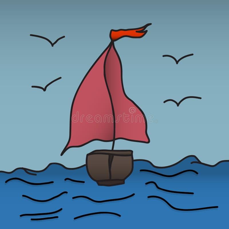Statek z szkarłatnymi żaglami jest spławowy na fala również zwrócić corel ilustracji wektora TARGET688_1_ ręką ilustracja wektor