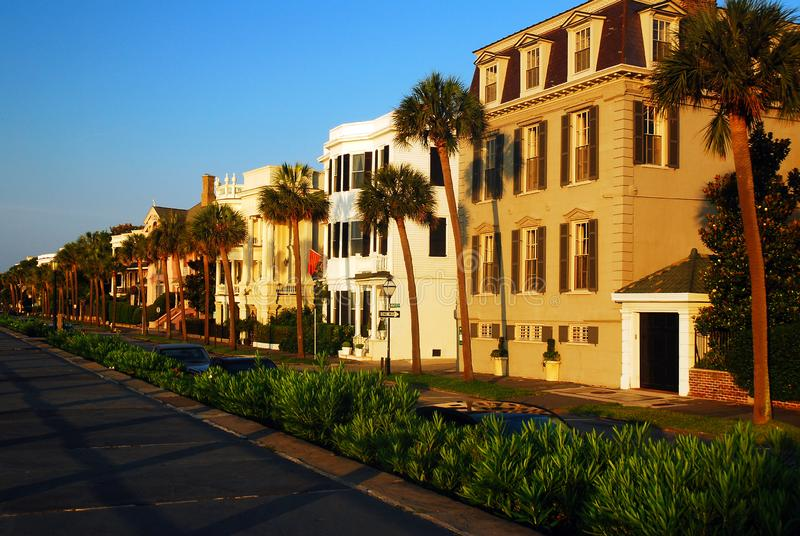 Stately Antebellum Homes. Line the waterfront along East Battery in Charleston royalty free stock photography
