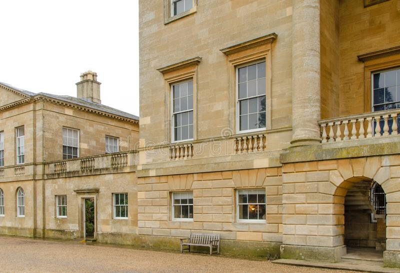 Grand stately home in Britain built from stone. Stately home in Britain, typical of those wanting to show off their wealth stock images
