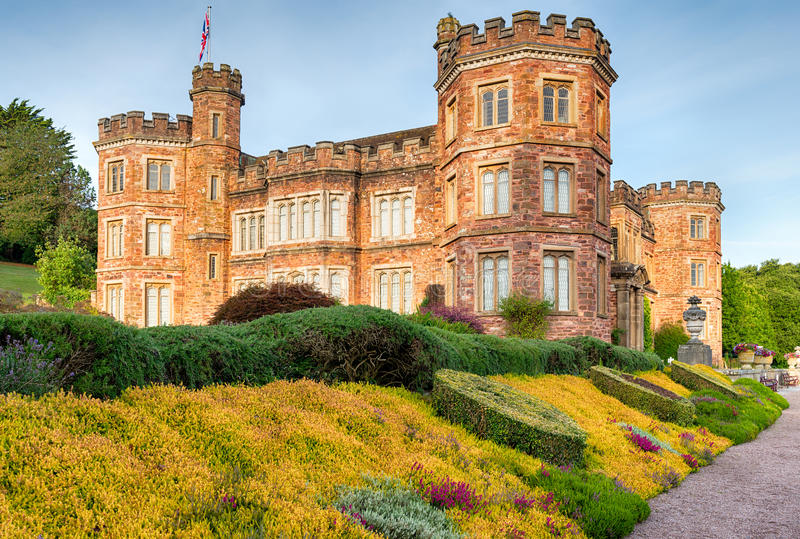 A Stately Home. An English stately home in the style of a castle at Mount Edgcumbe in Cornwall royalty free stock image
