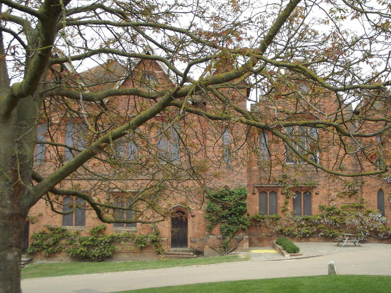 Stately Home. A Stately Home Through Tree Branches stock image