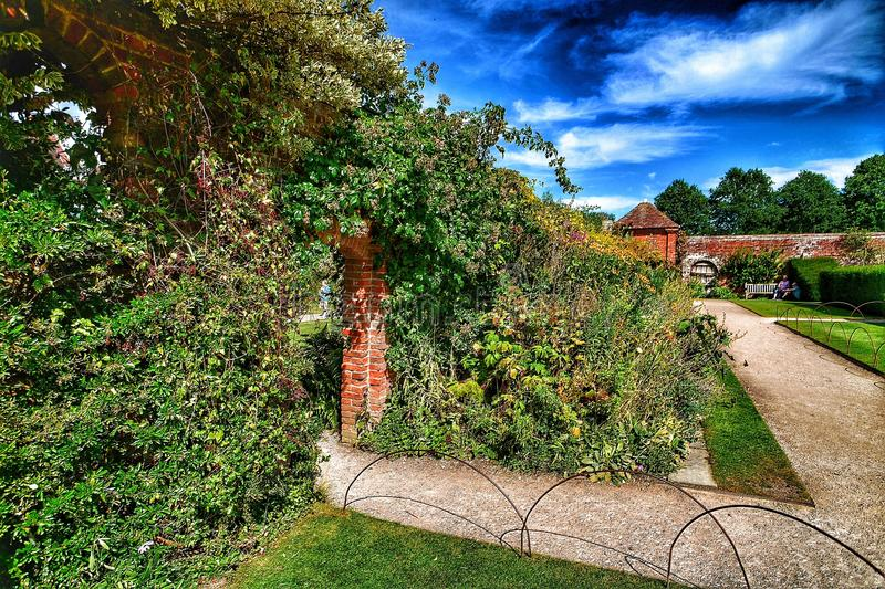 Stately home. Visiting an English stately home Warwickshire Midlands England garden gardens with stock images