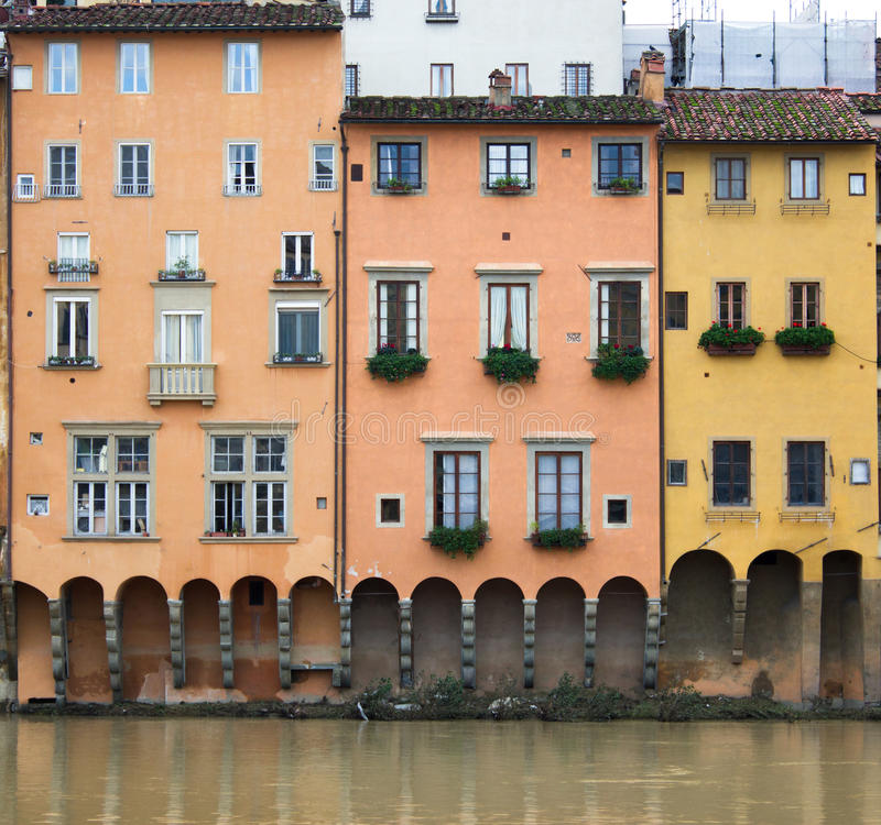 Statements sull arno. Elevations of the buildings of the arno florence royalty free stock images