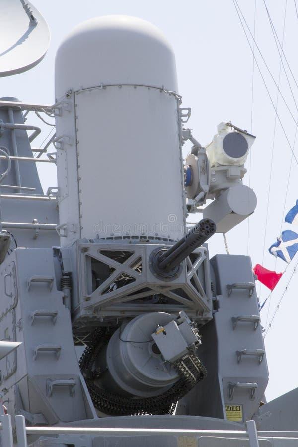 Το πυροβόλο όπλο Phalanx στον καταστροφέα Αμερικανικού Ναυτικού κατά τη διάρκεια της εβδομάδας 2012 στόλου στοκ φωτογραφία