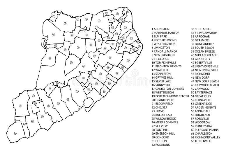 Staten Island Neighborhood Map Stock Image Image of staten york