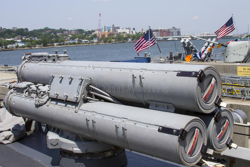 Torpedoes on US Navy destroyer during Fleet Week 2012. STATEN ISLAND, NEW YORK - MAY 29:Torpedoes on US Navy destroyer during Fleet Week 2012 on May 29, 2012 in royalty free stock images