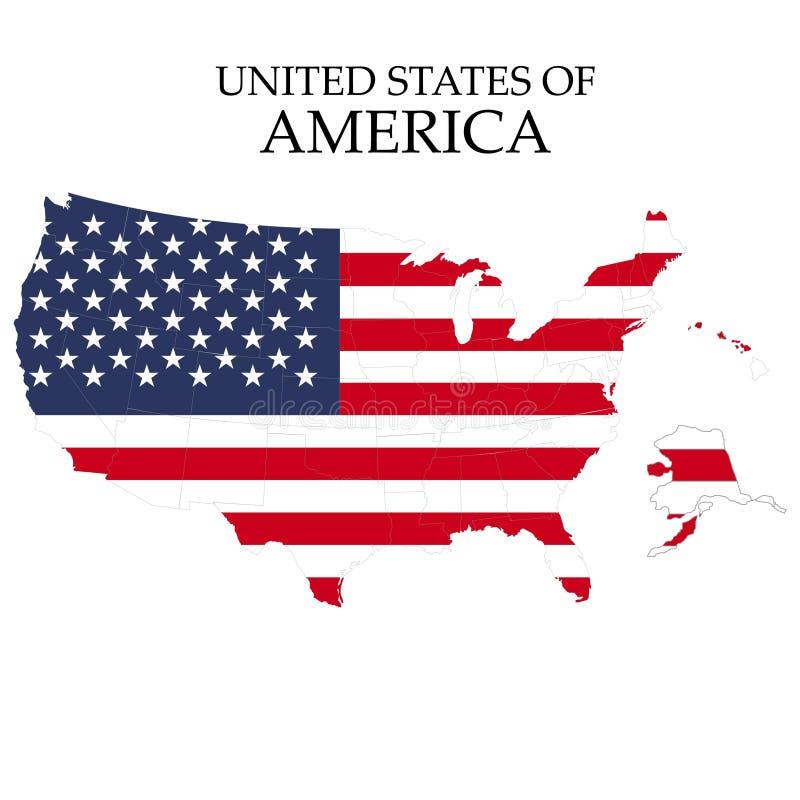 Staten van het grondgebied van Amerika op witte achtergrond Vlag van de V Vector illustratie vector illustratie