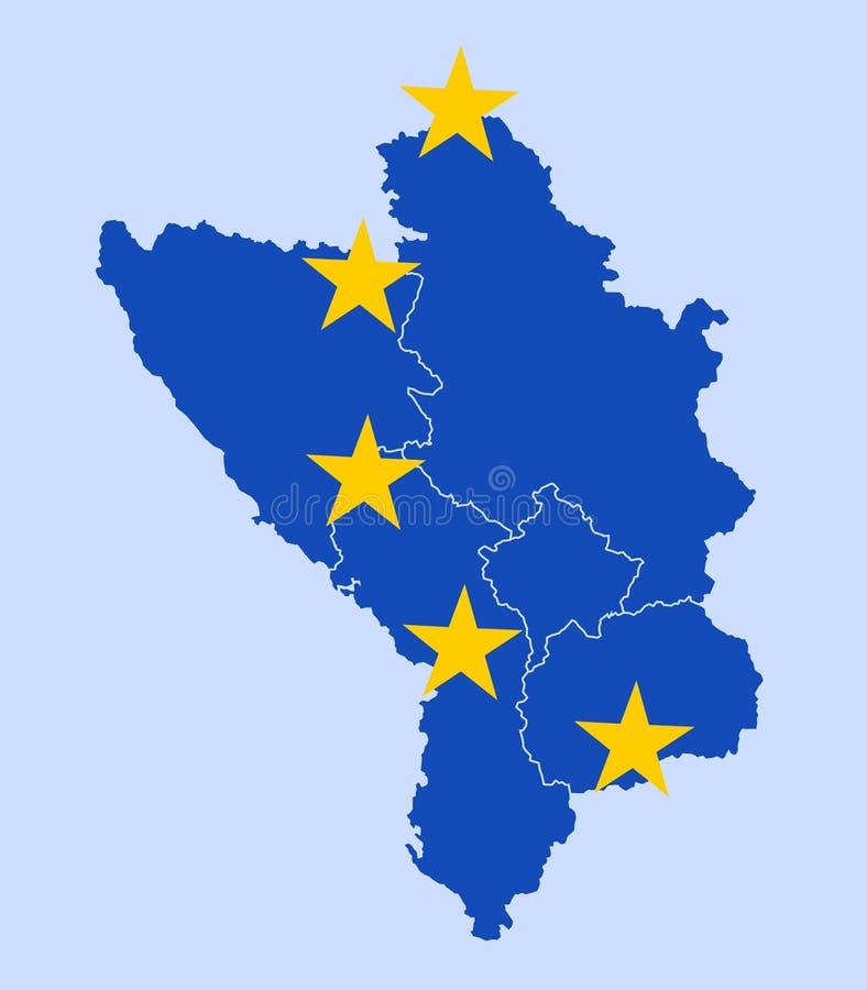 Stater av västra Balkan som medlemmar av europeisk union stock illustrationer