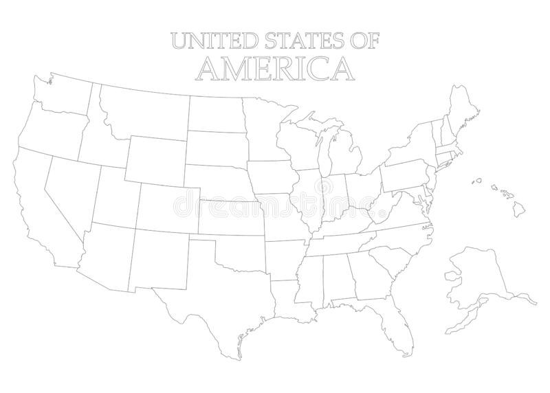 States of America territory on white background. American flag. Separate state. Vector illustration. States of America territory on white background. American stock illustration