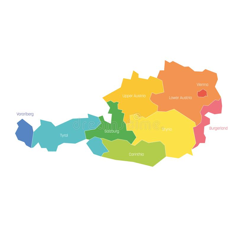 States of Austria. Map of regional country administrative divisions. Colorful vector illustration vector illustration