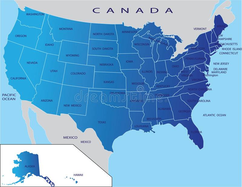 States map of USA vector illustration