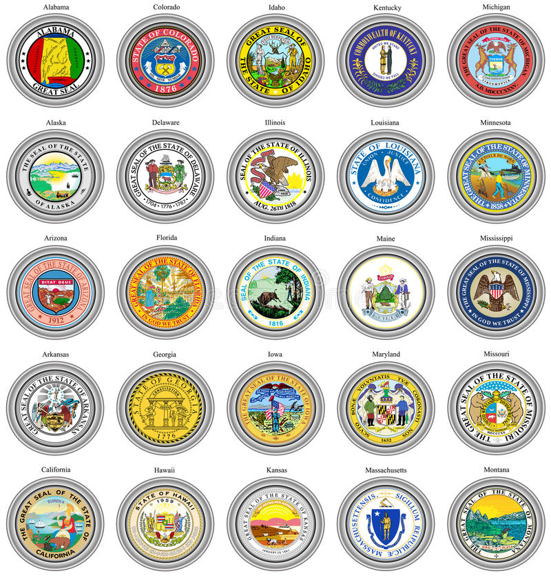 Free States Of USA Seals. Stock Images - 80921724