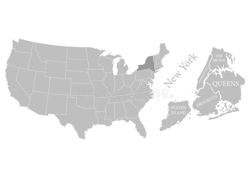 Stati del territorio dell'America su fondo bianco Stato separato Stato di New York Citt? separate Illustrazione di vettore royalty illustrazione gratis