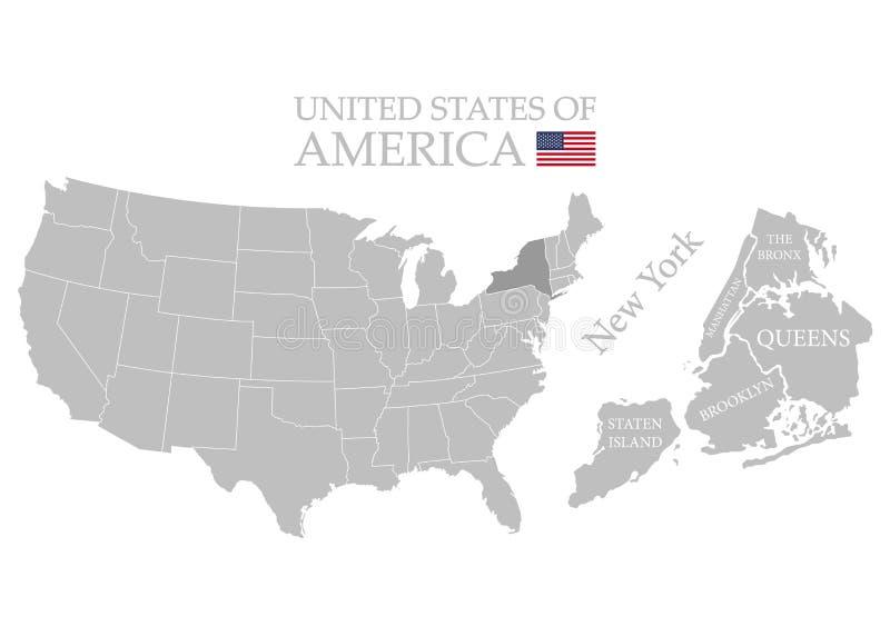 Stati del territorio dell'America su fondo bianco Stato separato Stato di New York Citt? separate Illustrazione di vettore illustrazione di stock