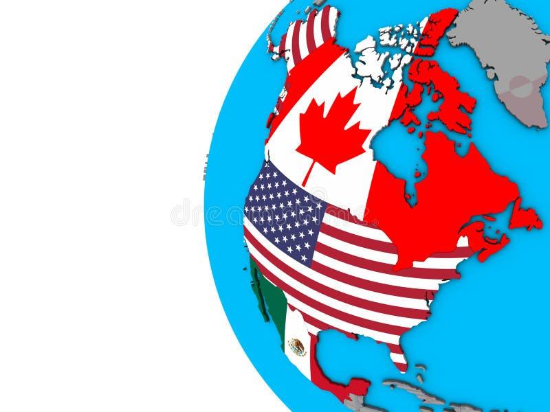 Stati membri di NAFTA con le bandiere sul globo 3D illustrazione di stock