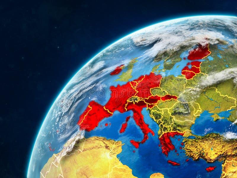 Stati membri di zona euro su terra con i confini immagine stock