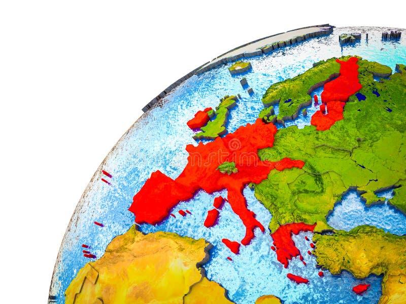Stati membri di zona euro su terra 3D illustrazione di stock