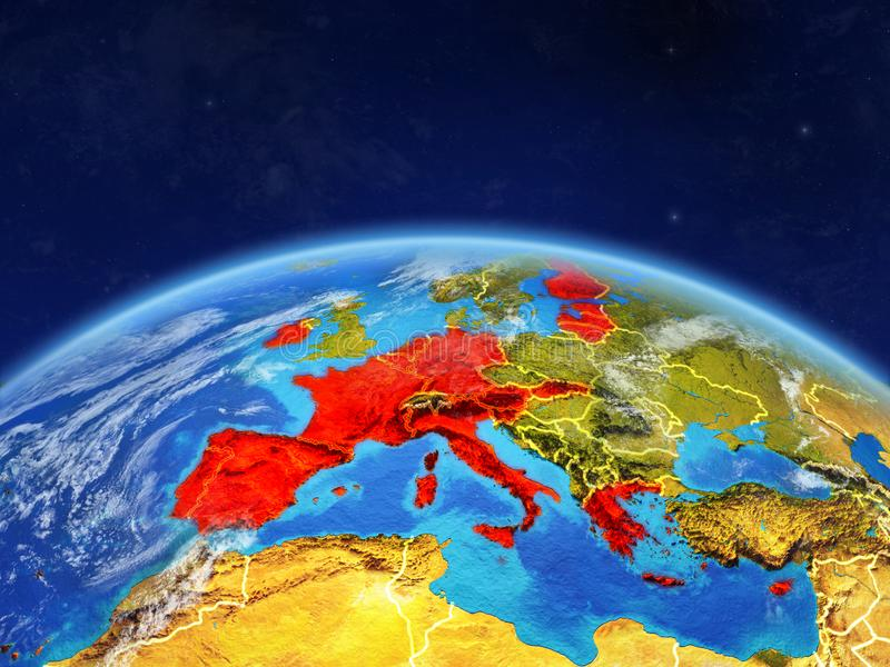 Stati membri di zona euro su terra da spazio illustrazione di stock