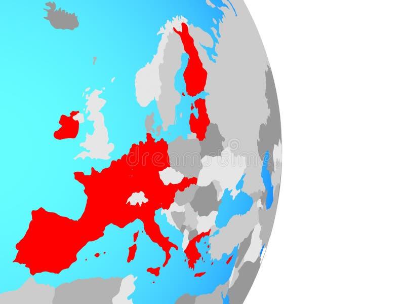 Stati membri di zona euro sul globo royalty illustrazione gratis