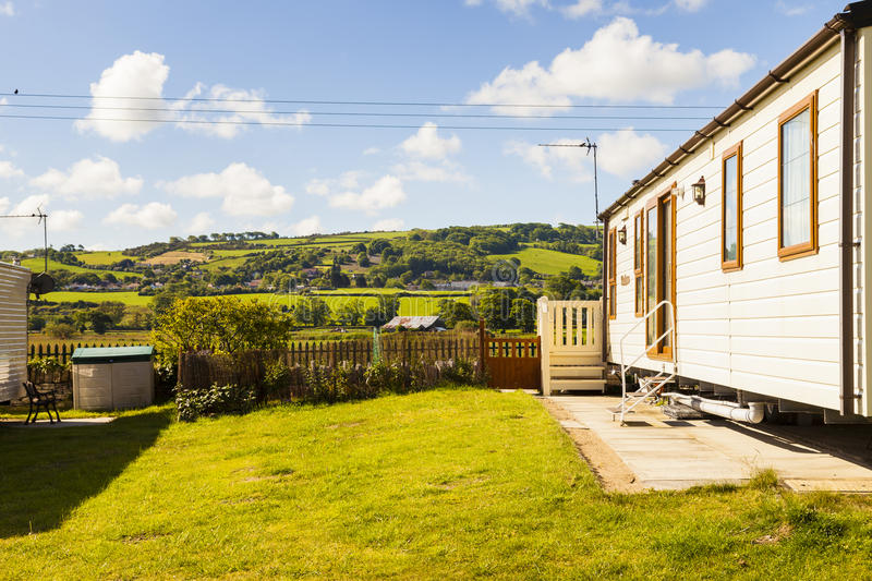 Static caravan holiday home at U. K. holiday park. royalty free stock images