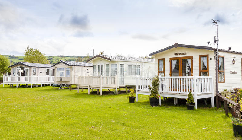 Static caravans on a typical british summer holiday park. stock photos