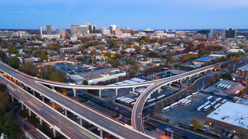 Static Shot Over Highways and Downtown City Skyline Wilmington Delaware royalty free stock images
