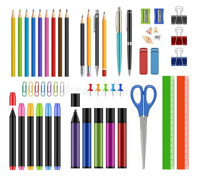 Stationär samling Pennblyertspennor vässar rubber den realistiska skolutbildninghjälpmedel eller vektorn för objekt för kontorsti royaltyfri illustrationer